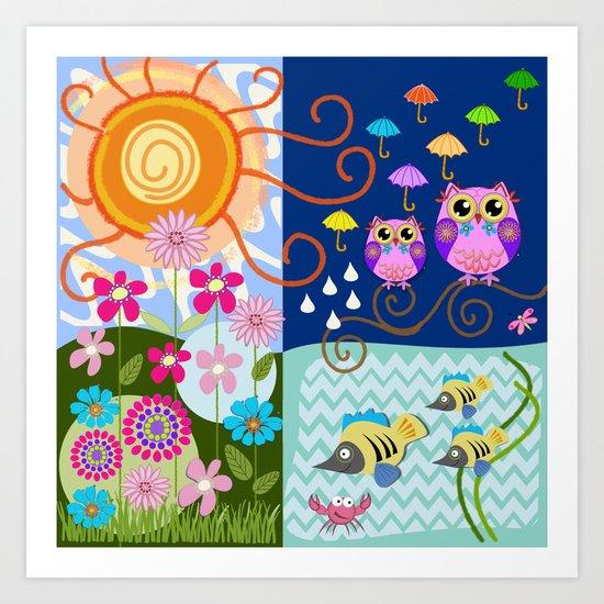 Happy Sun, Sea, Owls, Fish, Flowers and Patterns Art Print