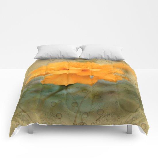 Orange Marigold  Raindrop Abstract Comforters
