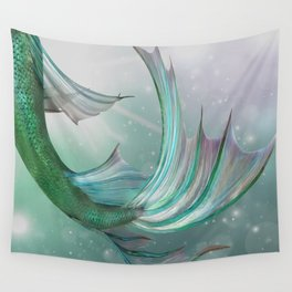 Mermaid, Ocean Sea, Pastel Purple,Teal, Green Wall Tapestry