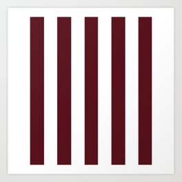 Chocolate cosmos purple - solid color - white vertical lines pattern Art Print