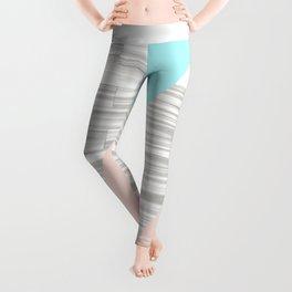 Abstract gray wood coral aqua color block Leggings