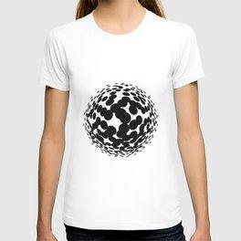 Black halftone circles. T-shirt