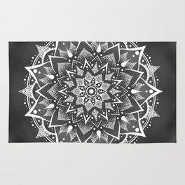 White on Grey mandala Rug
