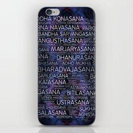 Yoga Asanas / Poses Sanskrit Word Art  Pearl on amethyst iPhone Skin