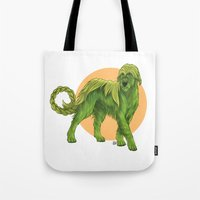 sith Tote Bags featuring Wolfhound Cu-Sith by AlliePets