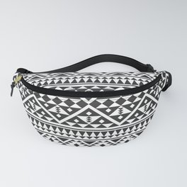 Traditional Aztec Ethnic Pattern Design Black White Color Fanny Pack