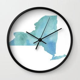 Watercolor State Map - New York NY blue greens Wall Clock