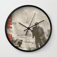 blade runner Wall Clocks featuring Blade Runner by JAGraphic