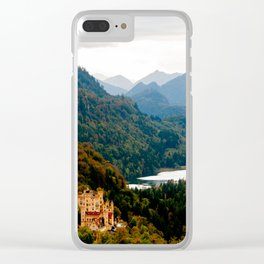 Castle under mountains Clear iPhone Case