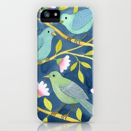 Three birds on indigo iPhone Case