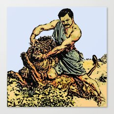 Ron Swanson Slaying A Lion  |  Parks and Recreation Canvas Print