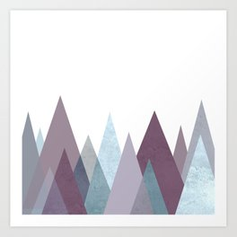 PLUM TURQUOISE MOUNTAINS GEOMETRIC Art Print