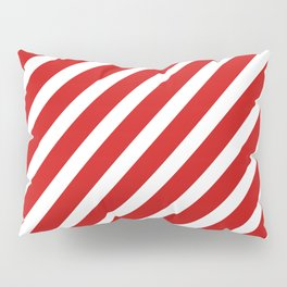 Red Diagonal Stripes Pillow Sham