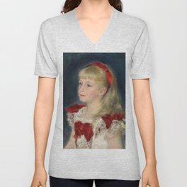 "Auguste Renoir ""Mademoiselle Grimprel au ruban rouge"" Unisex V-Neck"