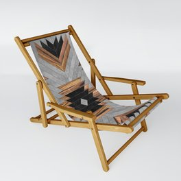 Urban Tribal Pattern No.6 - Aztec - Concrete and Wood Sling Chair