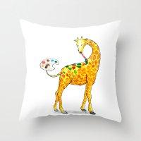 giraffe Throw Pillows featuring Giraffe by gunberk