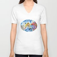 angel V-neck T-shirts featuring Angel by Shelley Ylst Art