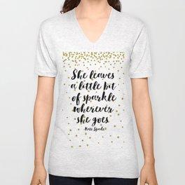 Nursery Girls Decor,Quote Prints,She Leaves A Little Bit Of Sparkle Wherever She Goes,Girly Art Unisex V-Neck