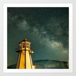 Mountain Light House Art Print