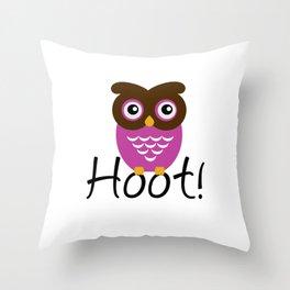 Pink Owl Hoot! Throw Pillow