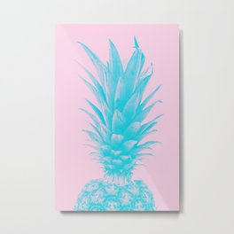 Blue Pineapple Xerox + Pink Metal Print