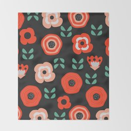Midnight floral decor Throw Blanket