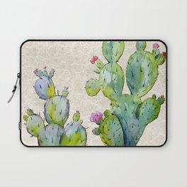 Water Color Prickly Pear Cactus Adobe Background Laptop Sleeve