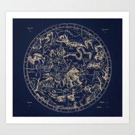 Gold Ceiling   Zodiac Skies Art Print