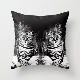 cat sitting like human ws bw Throw Pillow