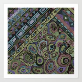 An abstract textured pattern in Oriental style . Art Print