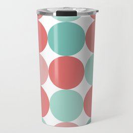 Cheerful Dots in Coral Pink and Aqua. Cute Minimalist Dot Pattern in Cheerful Colours Travel Mug