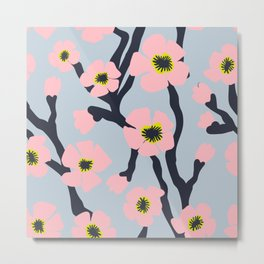 Pink Blooms Everywhere No 02 (square) Metal Print