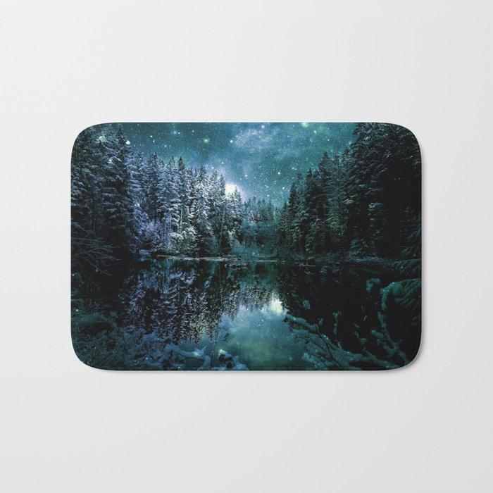 Winter Wonderland Forest Green Teal : A Cold Winter's Night Bath Mat