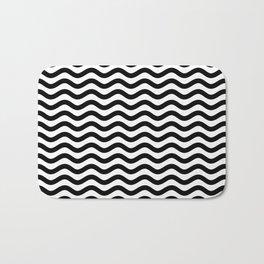 Waves (Black & White Pattern) Bath Mat