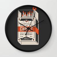 camp Wall Clocks featuring Camp by ehpopoki