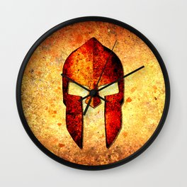 Spartan Helmet On Rust Background With A Color Burn Effect Wall Clock