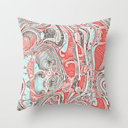 Coral and Teal Abstract Art Pattern Throw Pillow
