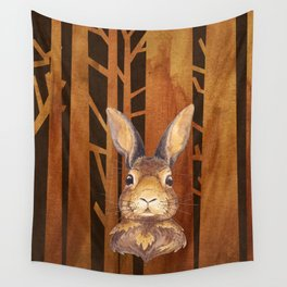 Rabbit in the forest - abstract animal hare watercolor illustration Wall Tapestry