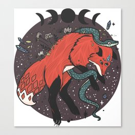Jumping Fox With Snake, Gemstones, Moon Phases, And Witch Design Elements Canvas Print