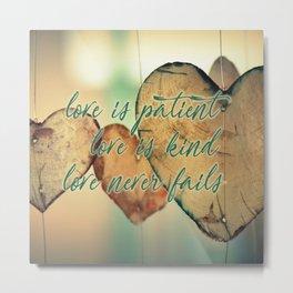 Romantic Wood Hearts Rustic Love Quote Bible Verse Metal Print