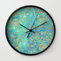 gold Wall Clocks featuring Sapphire & Jade Stained Glass Mandalas by micklyn