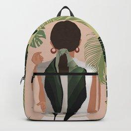 Girl In Green Leaf Scarf Backpack