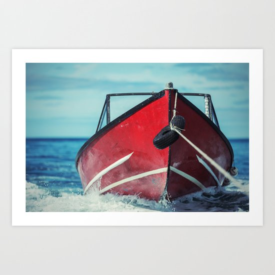 Boat in Tow Art Print