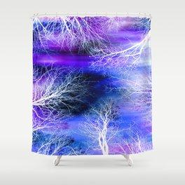 Midnight Trees Purple Blue Shower Curtain