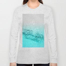 Silver Gray Aqua Teal Ocean Glitter #1 #shiny #decor #art #society6 Long Sleeve T-shirt