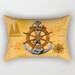 Nautical Ships Wheel And Anchor Rectangular Pillow