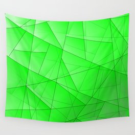 Glowing contrasting green fragments of crystals on triangles of irregular shape. Wall Tapestry