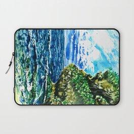 Bali Balangan beach watercolor painting ocean landscape Laptop Sleeve