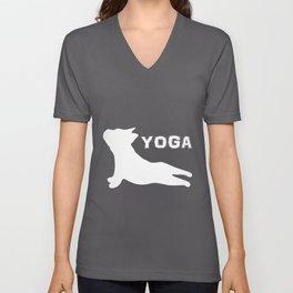 Cute French Bulldog. Yoga. Yoga Lover Unisex V-Neck