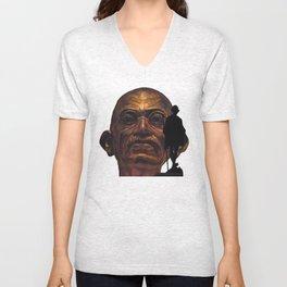 Gandhi - the walk - orange version Unisex V-Neck